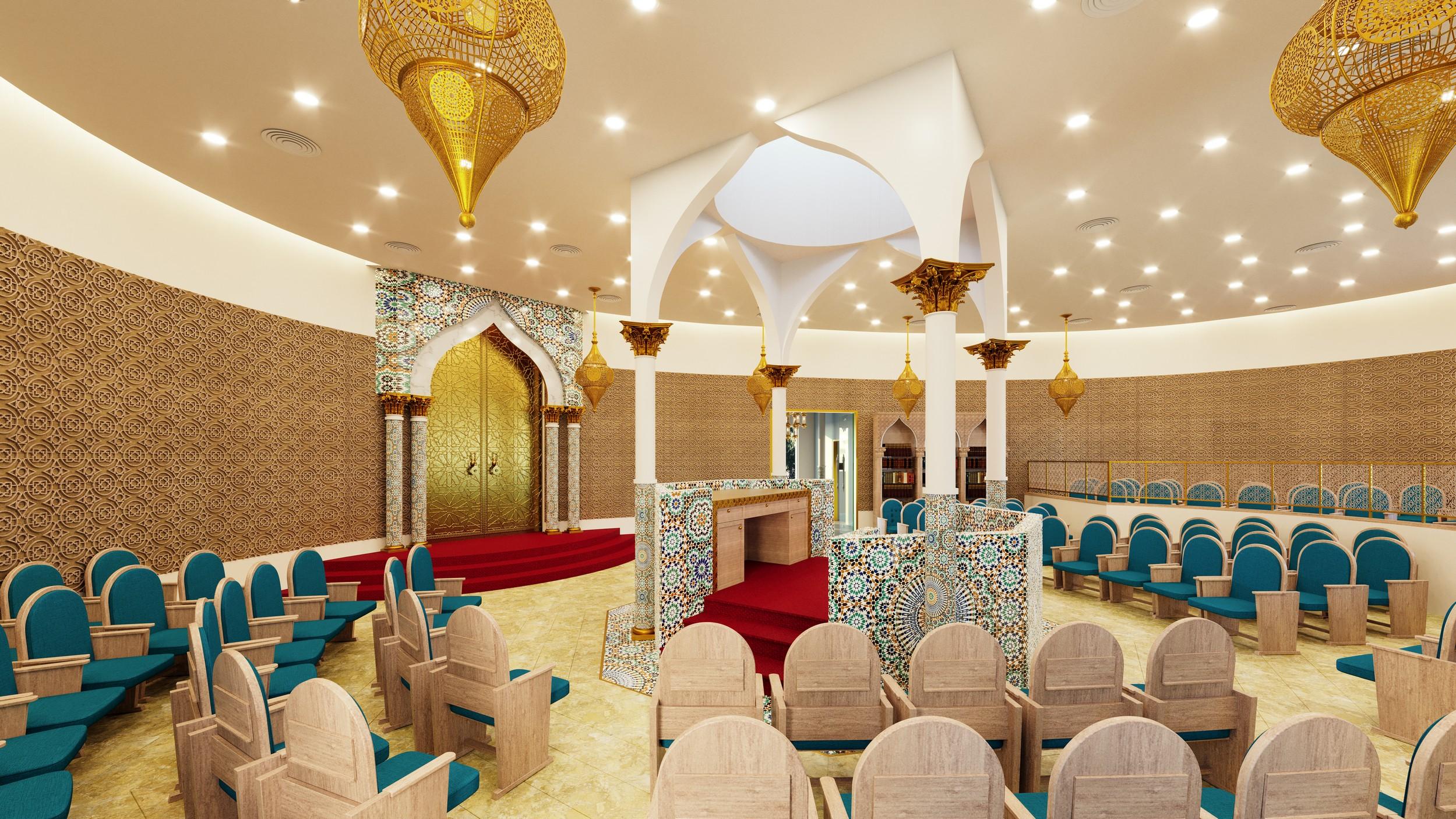 בית כנסת מרקש בעפולה - ריקי גרוזמן - בית כנסת בית מדרש, ארון קודש בעיצוב מרוקו מרקש
