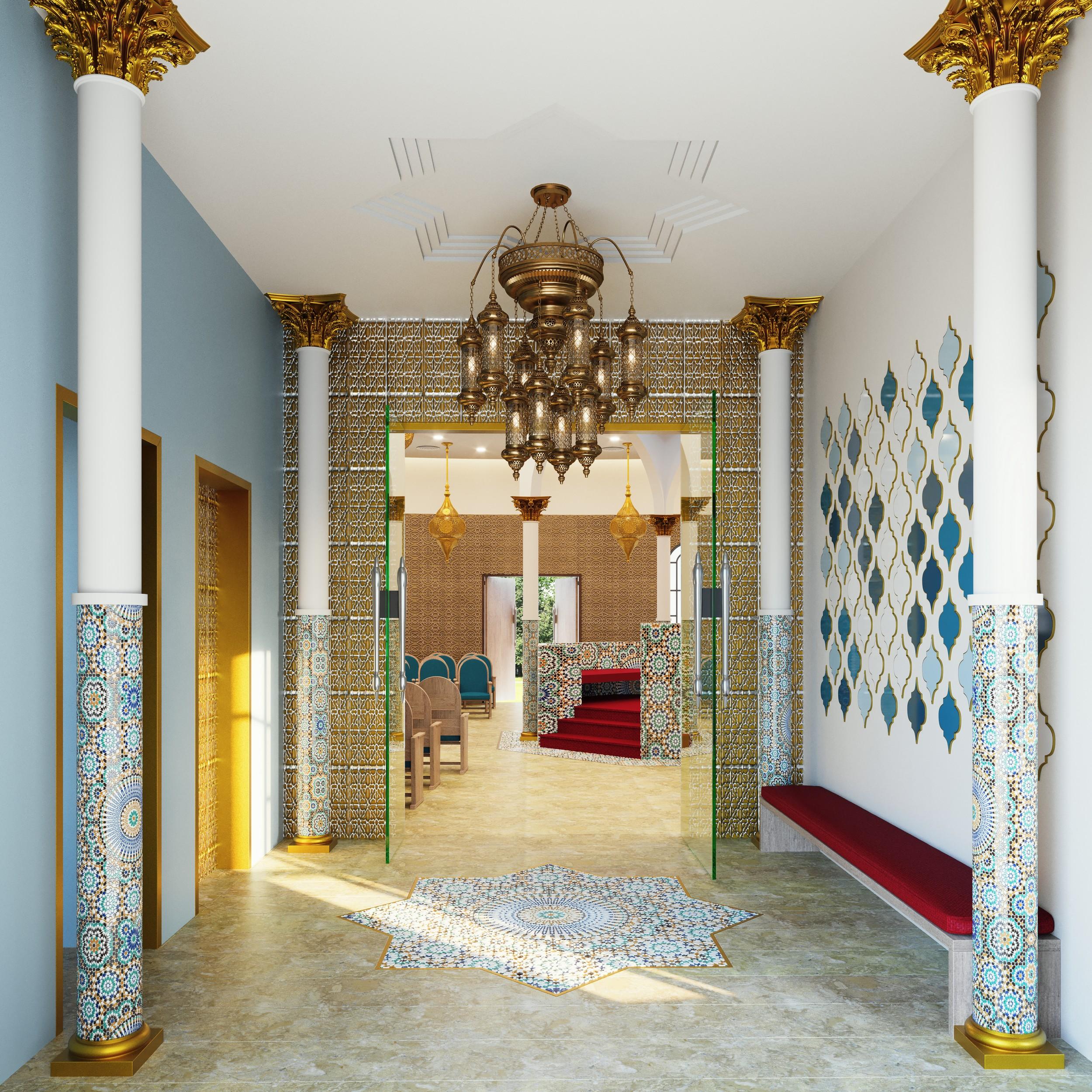 בית כנסת מרקש בעפולה - ריקי גרוזמן - לובי בעיצוב מרוקו מרקש