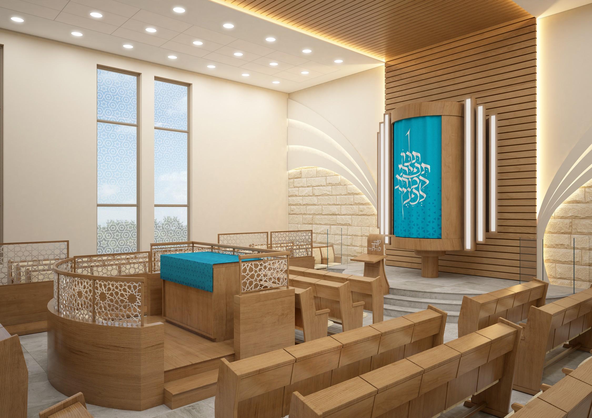 """בית הכנסת של קהילת """"יחד"""" הינה קהילה צעירה ותוססת, בשכונת פסגת אונו - מראה פנימי תקריב ארון קודש"""