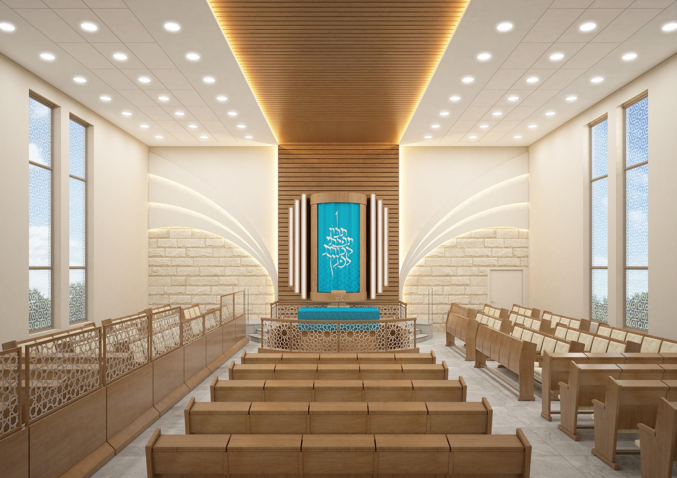 """בית הכנסת של קהילת """"יחד"""" הינה קהילה צעירה ותוססת, בשכונת פסגת אונו - ארון קודש - מראה פנימי"""